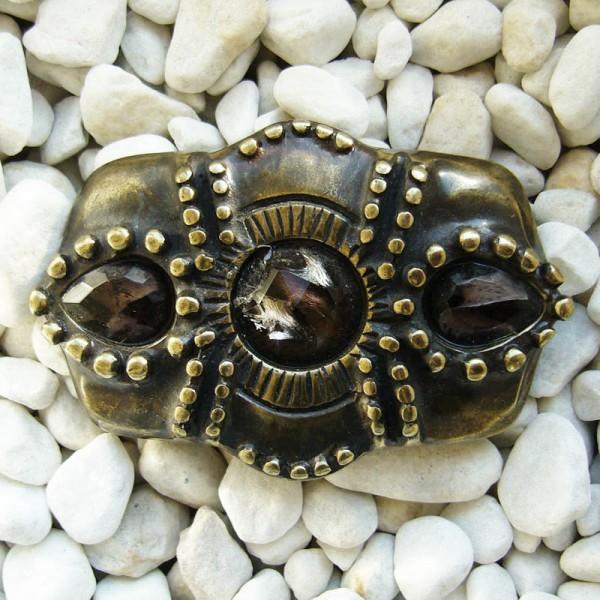 Barock bernsteinfarben, 4cm, romantische Schließe
