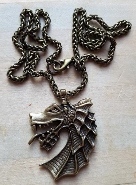 Halskette Nordischer Drachenkopf, messingfarben