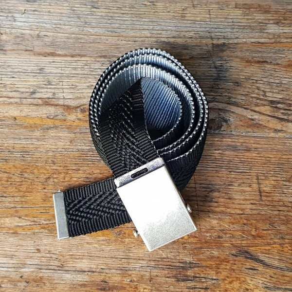 Stoffgürtel Koppelschließe, 4 cm, Fischgrat schwarz/silber