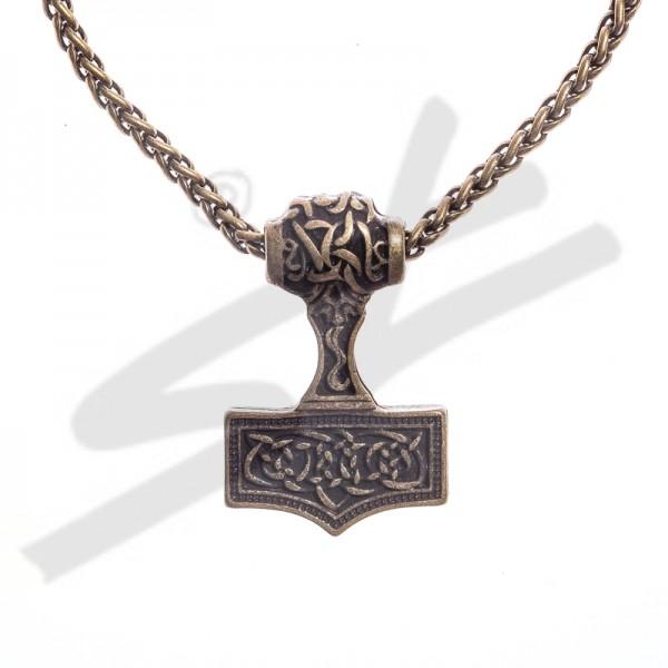 Halskette Thor-Hammer , altmessingfarben