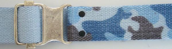 Stoffgürtel, Ringschließe, Tarndruck blau/grau