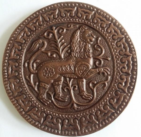 Magyarische runde Taschenplatte, kupferfarben, Löwe