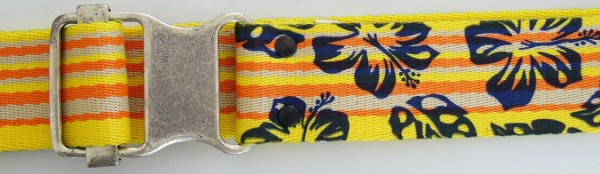 Stoffgürtel , Ringschließe, gemustert Hibiscus gelb/orange