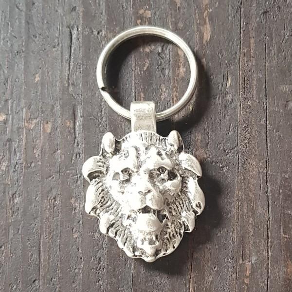 Schlüsselanhänger METAL-LIONHEAD silberfarben