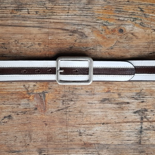 STRIPES, 4cm breiter, weiß/brauner Vollrind-Ledergürtel