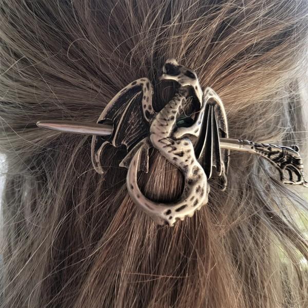 Haarspange WYVERN, silberner nordischer Drache