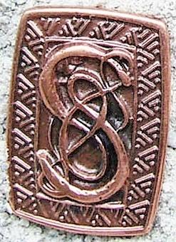 Schlangen-Schild, kupferfarbener Beschlag
