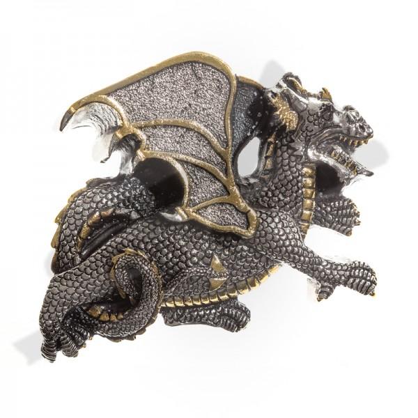 Nordischer Drache mit Gold, 4cm, Zinnschließe