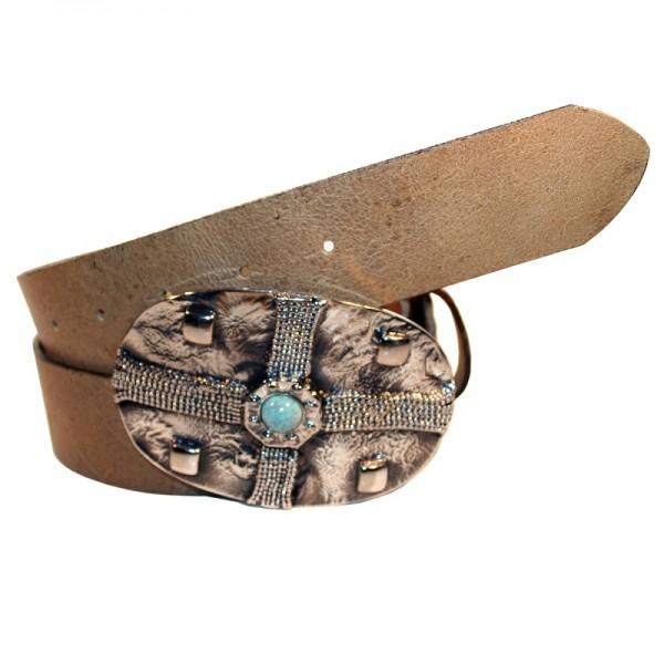 Full, Kettenkreuz-Schließe, 4cm, schwarzsilber, türkis