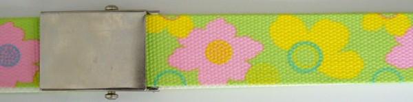 Stoffgürtel Koppel, gemustert, Blüten grün/gelb
