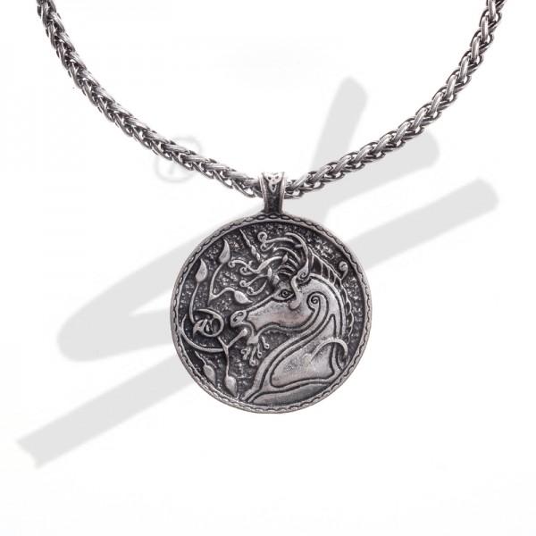 Halskette keltisches Einhorn, silberfarben