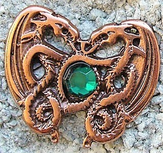 N-211-4 Dragonheart Smaragd, kupferfarbener Beschlag