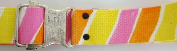 Stoffgürtel , Ringschließe, gemustert gelb/pink/orange