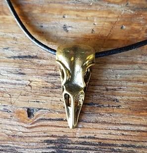 Halskette Raben-Schädel , messingfarben