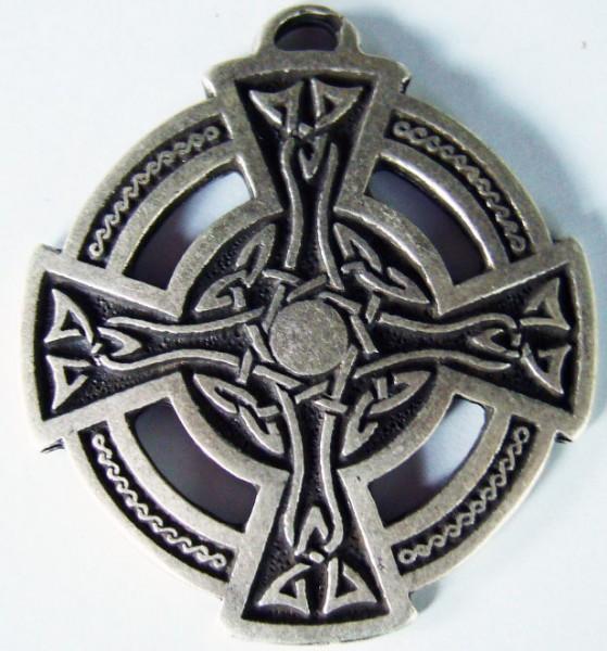 Anhänger keltisches Rad-Kreuz, silberfarben