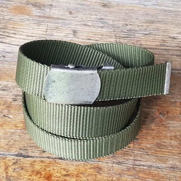 Stoffgürtel oliv, 3cm breit, Schließe silbern oder messing