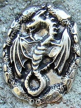 N-181-1 Drachen Amulett, silberfarbener Beschlag