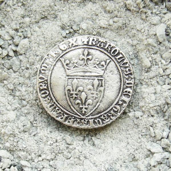historische Münze Lilie-Wappen, Beschlag silberfarben