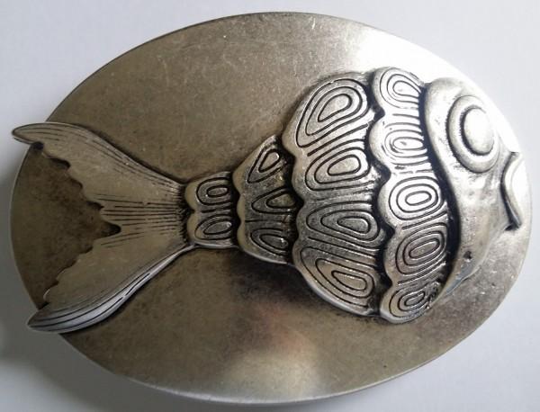 FISCH-PLATTE, 4cm, silberfarbene Gürtel-Schließe