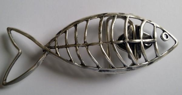 FISCH-SKELETT, 4cm, silberfarbene Gürtel-Schließe