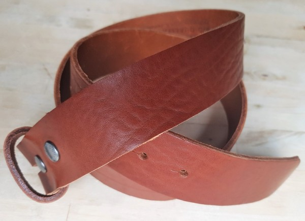 5 cm breiter Blankleder-Riemen, Druckknopf-Wechselgürtel