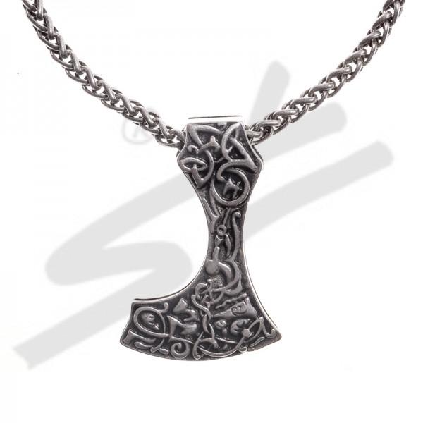 Halskette Mittelalter Bartaxt , silberfarben