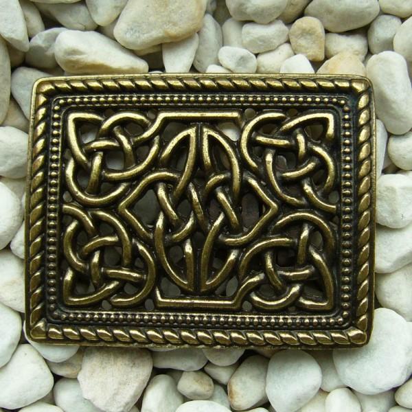 Killahara, 4cm, messingfarbene keltische Knoten-Schließe