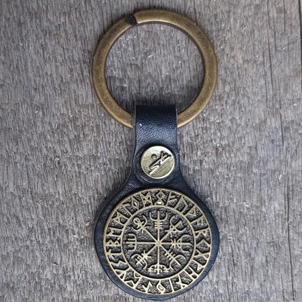 Schlüsselanhänger VEGVISIR schwarz/messingfarben