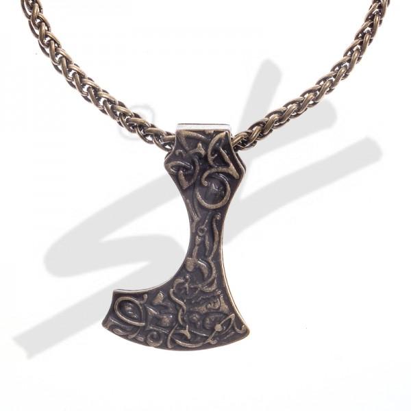 Halskette Mittelalter Bartaxt , altmessingfarben