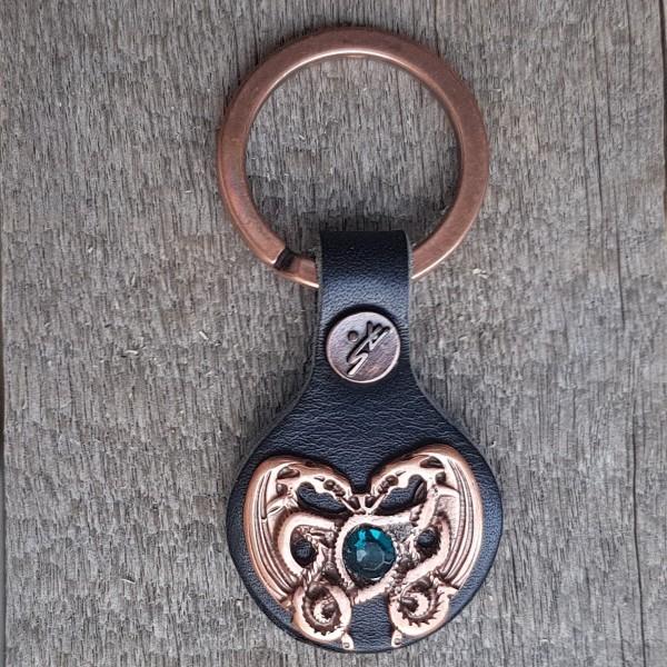 Schlüsselanhänger DRACHENHERZ SMARAGD kupferfarben