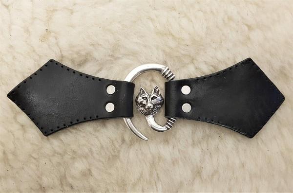 Wolfskopf Mantel-Verschluß, silbern mit Befestigungsleder