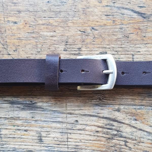 CARLO, 3cm, dunkelbrauner Büffelledergürtel, altsilberfarbene Schließe