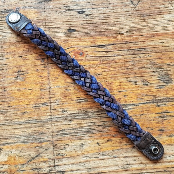 BRAID, geflochtenes Armband braun/marine, 23cm