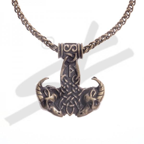 Halskette Thor-Hammer mit Ziegenköpfen , altmessingfarben