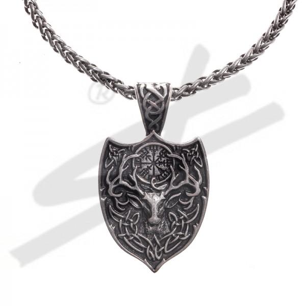 Halskette keltischer Hirsch mit AEGISHJALMUR, silberfarben