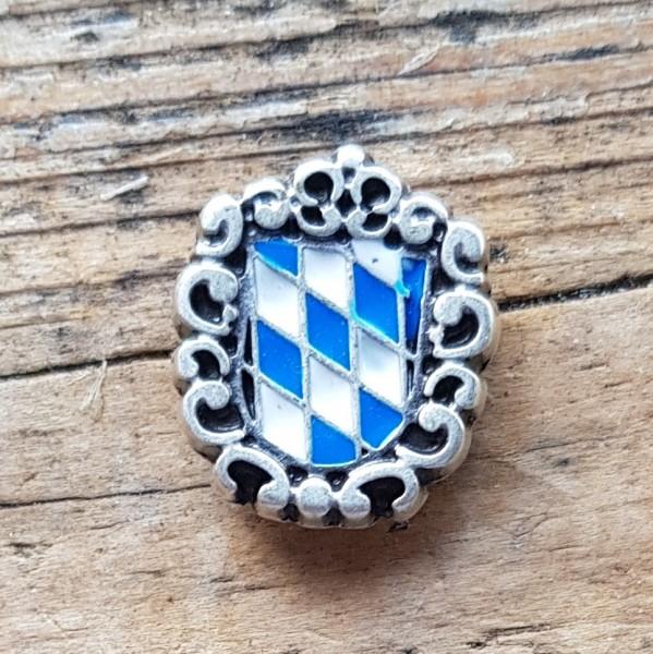 Bayern-Wappen weiß-blau, emaillierte Zierniete