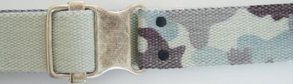 Stoffgürtel , Ringschließe, Tarndruck grau/blau