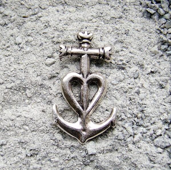 Kreuz-Herz-Anker, silberfarbener Symbol-Beschlag