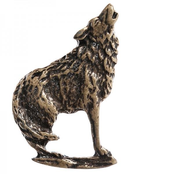 N-056-21 heulender Wolf, altmessingfarben