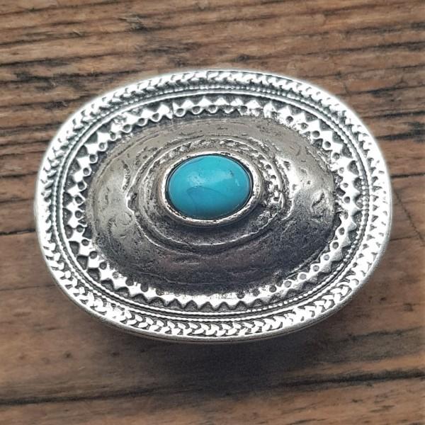 großer ovaler Beschlag, silbern mit türkisem Stein