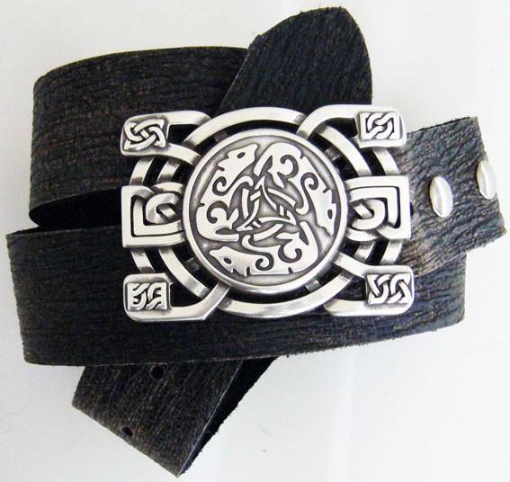 B 3140-1 Celtic Hounds, keltische Gürtelschließe, silberfarben