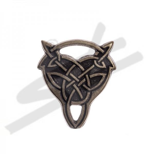 Beschlag keltischer Wolfskopf-Knoten, messingfarben