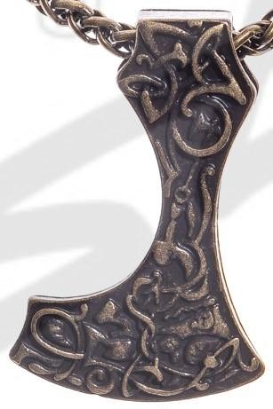 P 5112-21 Halskette Mittelalter Bartaxt , altmessingfarben