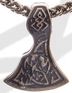 Anhänger Mittelalter Breit-Axt , altmessingfarben
