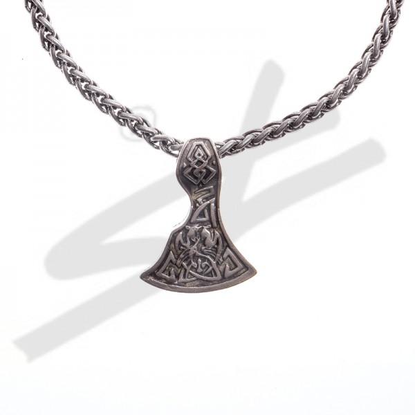 Halskette Mittelalter Breit-Axt , silberfarben