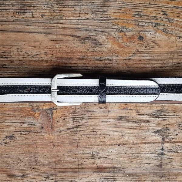 STRIPES, 4cm breiter, weiß/schwarzer Vollrind-Ledergürtel