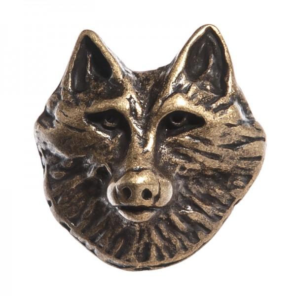 Wolfkopf-Niete, altmessingfarbener Beschlag