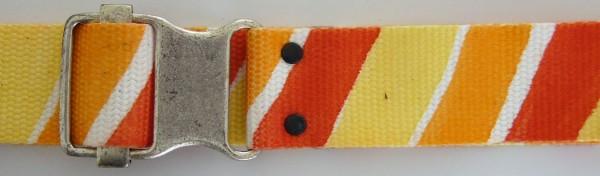 Stoffgürtel , Ringschließe, gemustert rot/orange/gelb