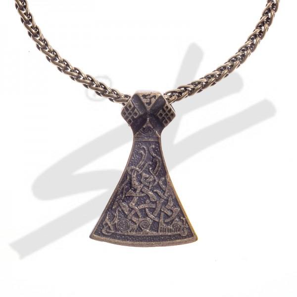 Halskette Mittelalter Mammen Axt , altmessingfarben