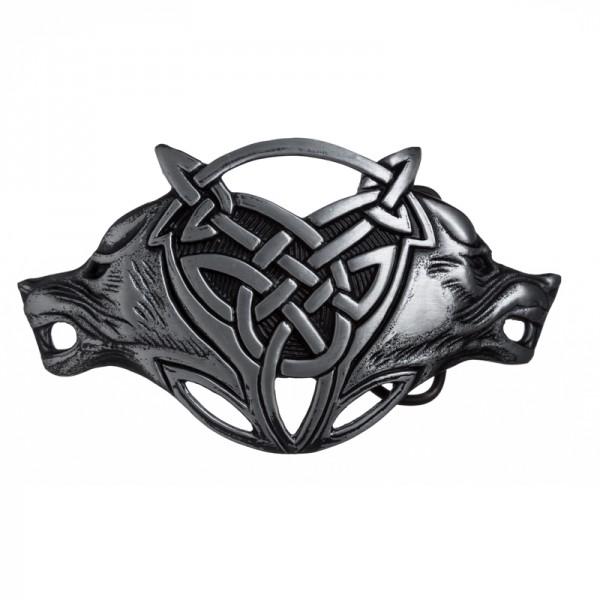 Celtic Wolves -Schließe schwarzsilberfarben 4cm